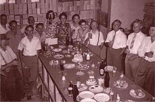 Christmas function in 1958 with the warehouse staff, Adelaide.