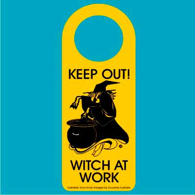 Door Hanger Witch At Work
