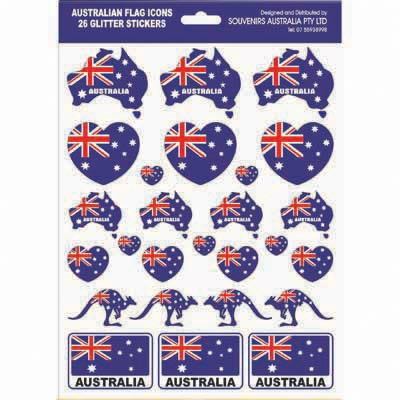 Australian Flag Icon Glitter Stickers, A4 sheet