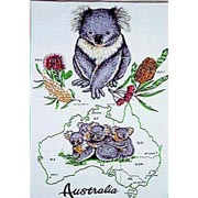 Koala Map Tea Towel