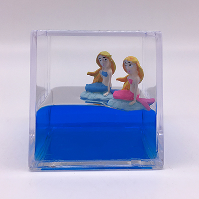 Paperweight Cube with Mermaid Floaters