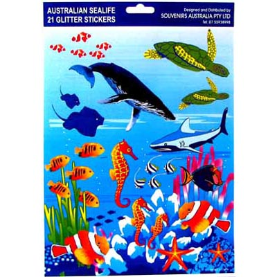 Australian Sealife Glitter Stickers, A4 sheet