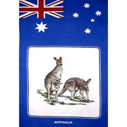 Flag & Kangaroo Tea Towel