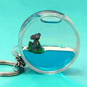 Keyring Liquid Round Koala on Leaf