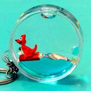 Keyring Liquid Round Kangaroo on Raft