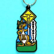 Keyring Rubber Kangaroo with Roadsign