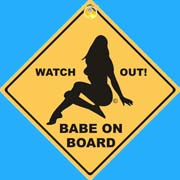 Suction Roadsign Babe On Board (Girl)