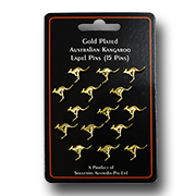 Gold Plated Kangaroo Lapel Pins - 15 pce Set