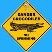 Suction Roadsign Danger Crocodile