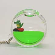 Keyring Liquid Round Crocodile